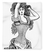 Corset Advertisement  1897 Fleece Blanket