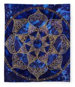 Cosmic Blue Lotus Fleece Blanket