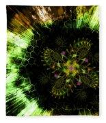 Cosmic Solar Flower Fern Flare Fleece Blanket by Shawn Dall