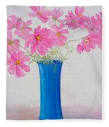 Cosmos Flowers Fleece Blanket
