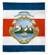 Costa Rica Coat Of Arms And Flag  Fleece Blanket