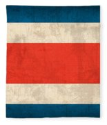Costa Rica Flag Vintage Distressed Finish Fleece Blanket