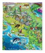 Costa Rica Map Illustration Fleece Blanket