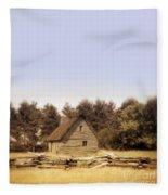 Cottage And Splitrail Fence Fleece Blanket