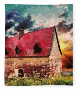 Cottage By The Sea - Abstract Realism Fleece Blanket