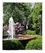 Cottage Garden Fountain Fleece Blanket