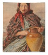 Cottage Girl Seated With A Pitcher Fleece Blanket
