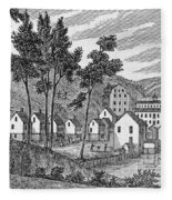 Cotton Factory Village, Glastenbury, From Connecticut Historical Collections, By John Warner Fleece Blanket