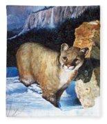 Cougar In Snow Fleece Blanket