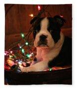 Country Christmas Puppy Fleece Blanket