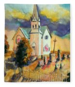 Country Church At Sunset Fleece Blanket