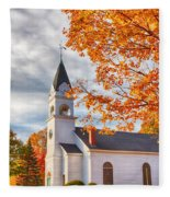 Country Church Under Fall Colors Fleece Blanket