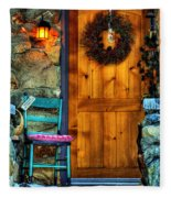 Country Cottage Door At Christmas Fleece Blanket