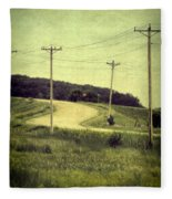 Country Dirt Road And Telephone Poles Fleece Blanket