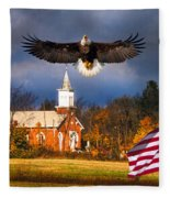country Eagle Church Flag Patriotic Fleece Blanket