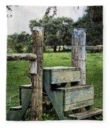 Country Farm Fence Stile Crossing Fleece Blanket