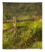 Country - Fence - County Border  Fleece Blanket
