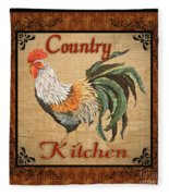 Country Kitchen Rooster Fleece Blanket