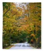 Country Road Fall Vermont Fleece Blanket