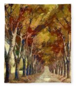 Country Road In Autumn Fleece Blanket