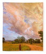 Country Road Into The Storm Front Fleece Blanket