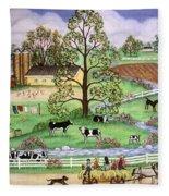 Country Scene Fleece Blanket