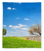 Countryside Landscape During Spring With Solitary Trees And Fence Fleece Blanket