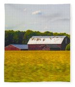 Countryside Landscape With Red Barns Fleece Blanket