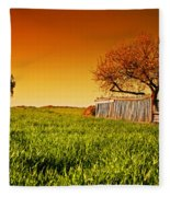 Countryside Orchard Landscape At Sunset. Spring Time Fleece Blanket