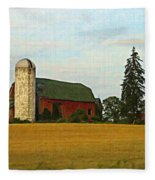 County Barn - Digital Painting Effect Fleece Blanket