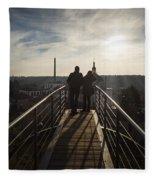 Couple Admiring The Cityscape Fleece Blanket