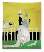 Couple At The Races, 1916 Fleece Blanket
