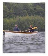 Couple Boating On Lake, Maine, Usa Fleece Blanket