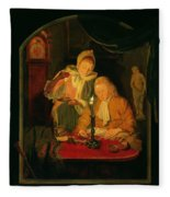 Couple Counting Money By Candlelight, 1779 Panel Fleece Blanket