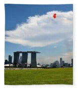 Couple Flies Kite Marina Bay Sands Singapore Fleece Blanket