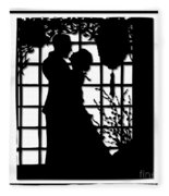 Couple In Love Silhouette Fleece Blanket