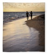 Couple Walking On A Beach Fleece Blanket