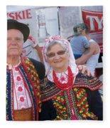 Couples In Polish National Costumes Fleece Blanket
