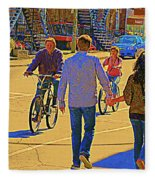 Couples Summer In The City Walking Biking Strolling With Baby Carriage Art Of Montreal Street Scene Fleece Blanket
