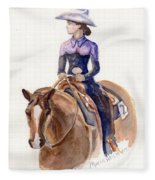 Horse Painting Cowgirl Courage Fleece Blanket