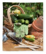 Courgette Basket With Garden Tools Fleece Blanket