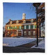 Court House In Winter Time Fleece Blanket