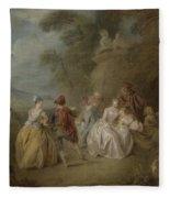 Courtly Scene In A Park, C.1730-35 Fleece Blanket