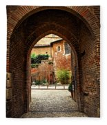 Courtyard Of Cathedral Of Ste-cecile In Albi France Fleece Blanket