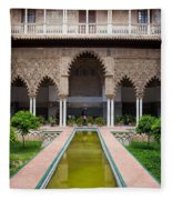 Courtyard Of The Maidens In Alcazar Palace Of Seville Fleece Blanket