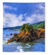 Cove On The Oregon Coast Fleece Blanket