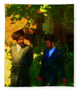 Covenant Conversation Two Men Of God Hasidic Community Montreal City Scene Rabbinical Art Carole Spa Fleece Blanket