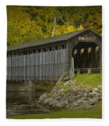 Covered Bridge In Fall Fleece Blanket