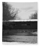 Covered Bridge In Winter Fleece Blanket