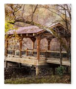 Covered Bridge On The River Walk Fleece Blanket